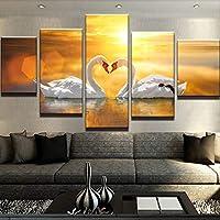 MAOYYM1 Wall Canvas Art Print Quadro Poster Parete Immagine 5 Pannello I Cigni per La Decorazione Domestica Pittura Kids Room (Nessuna Cornice,Solo su Tela)