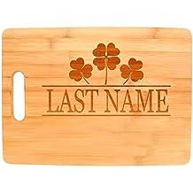 Customized Last Name Irish Clovers Wedding Gift Personalized Big Rectangle Bamboo Cutting Board