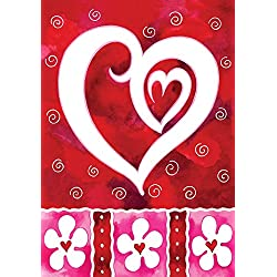 Toland - Heart & Flowers - Decorative Valentine Day Love Red USA-Produced House Flag
