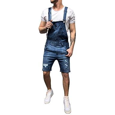 nouveau style b4026 d6b6f OEAK Salopette Homme Jeans Dechiré, Salopette Short Pantalon ...