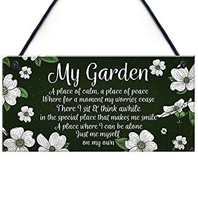 "Meijiafei Novelty Hanging Garden Plaque Present Home Fence Shed Sign Friendship Gift for Her 10"" X 5"""