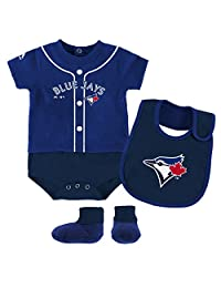 Toronto Blue Jays Newborn Tiny Player Creeper, Bib & Booties Set