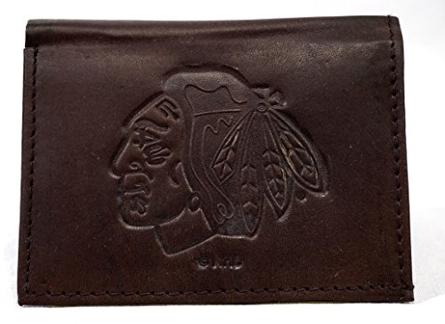 (NHL Chicago Blackhawks Tri-Fold Leather Wallet, Brown)
