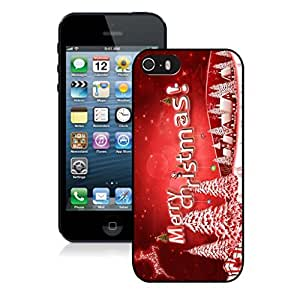 Iphone 5S Case,Red Merry Christmas Snow Tree Apple Iphone 5 5S Protective TPU Case