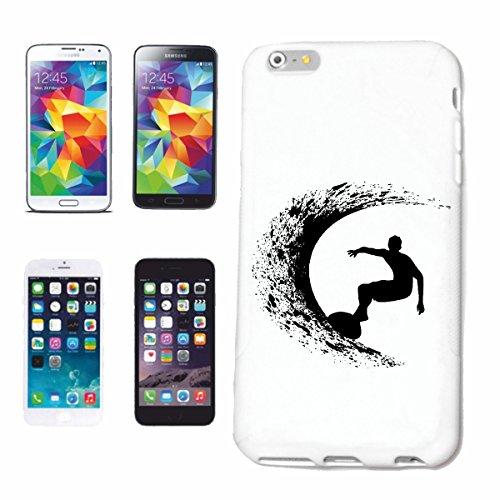 """cas de téléphone iPhone 7S """"SILHOUETTE SURFING BEACH SURFBOARDS WAVES LONGBOARD DE SURF Beginner Shop"""" Hard Case Cover Téléphone Covers Smart Cover pour Apple iPhone en blanc"""