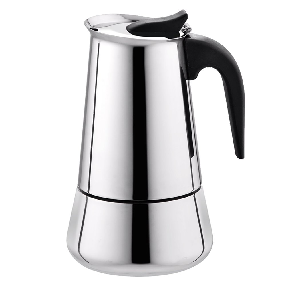 Tritrusten Moka Maker Espresso Coffee Maker Stainless Steel 4 cup induction