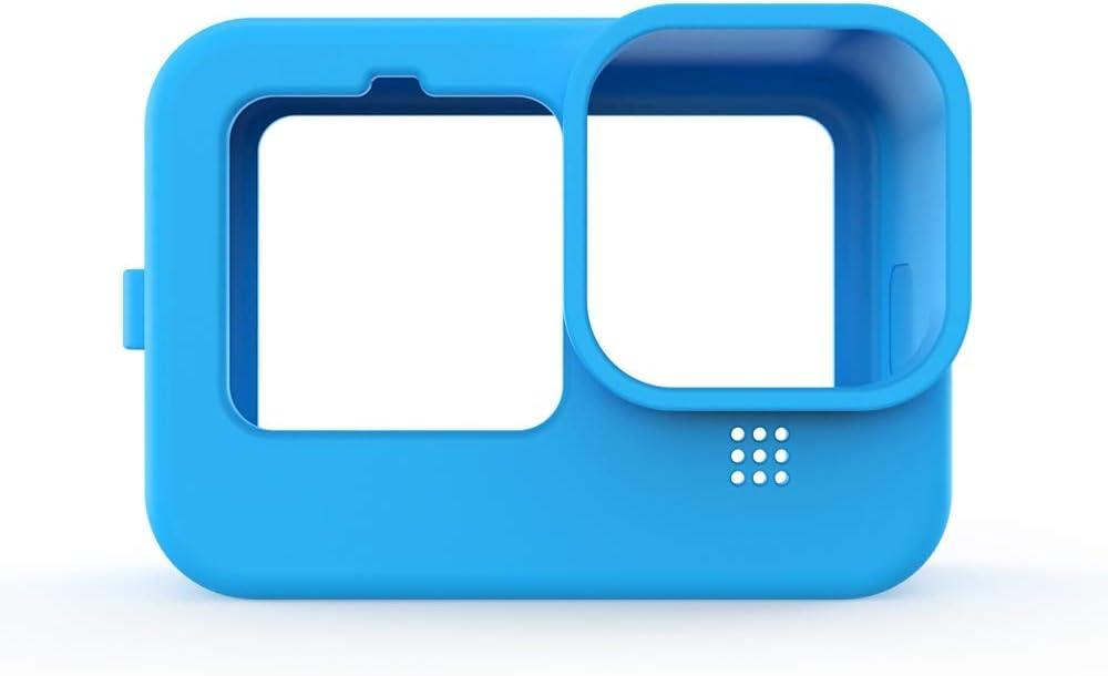 Bleu Doweiss Coque de Protection Silicone pour GoPro HERO9 Black,Etuis Durable et Souple Protective Design for GoPro Hero 9 avec Sangle et Couvercle d Objectif