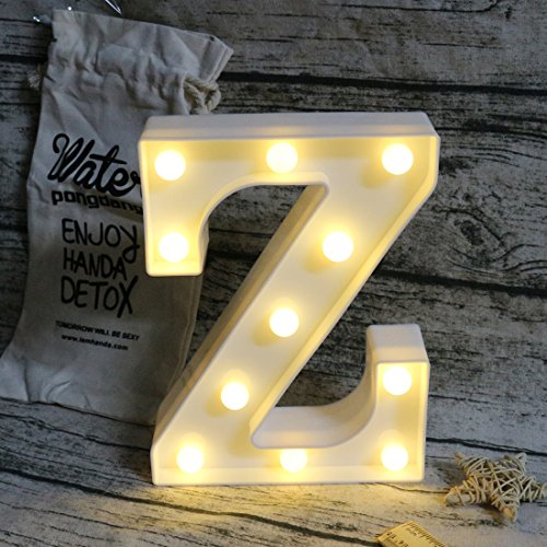 Alphabet Lamp (LEDIARY Letter Lights Sign Party Wedding Decor Lamp Alphabet Wall Marquee Decoration Lights Letter Z)
