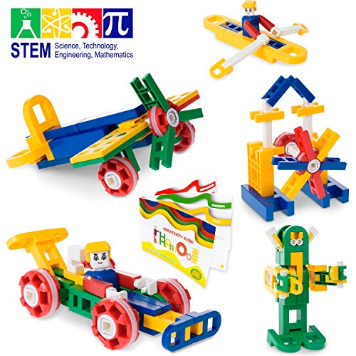 MagicJourney STEM Toys Engineering Set – Building Toys – Stem Learning Toys for Girls & Boys – Best Kids Gift Ages 4 5 6 7 8 9 10 Year-Old – Classroom Quality Building Blocks