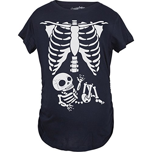 Maternity Skeleton Baby T Shirt Halloween Costume Funny