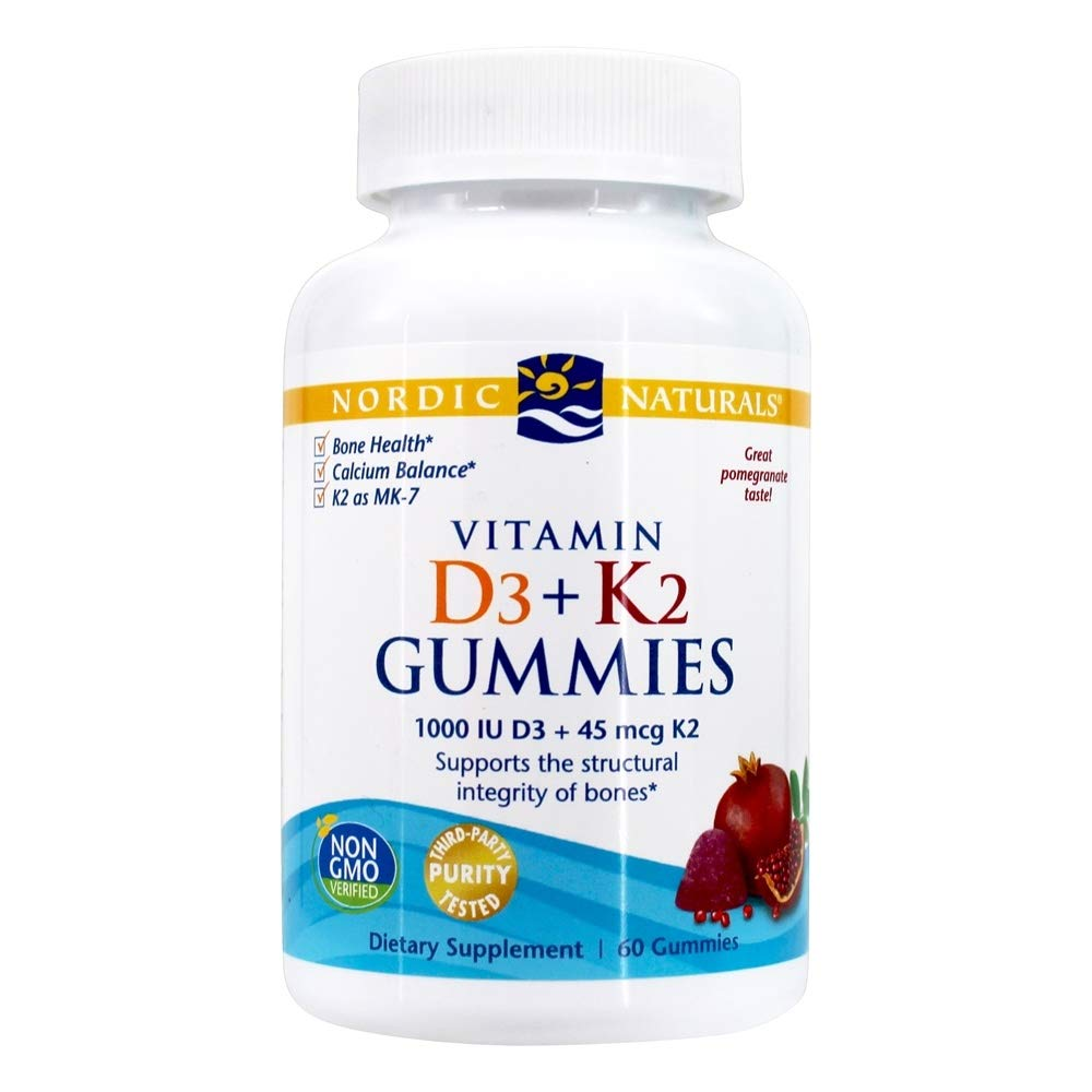 Nordic Naturals Vitamin D3 Plus K2 Gummies - Vitamin D3 from Natural Cholecalciferol for Optimal Calcium Absorption With Vitamin K2, Supports Formation of Healthy Bones, Pomegranate Flavor, 60 Count by Nordic Naturals