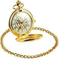 AMPM24 Luxury Golden Luminous Men's Mechanical Pocket Watch + Chain Gift WPK020