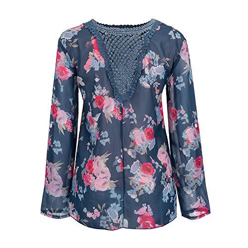 shirt T en femmes Marine Manches Blouse Tops Floral Dentelle Vente Automne Longues Tops Chemise chaude Pour Xinantime hiver Imprim Femmes qwna1YHPX