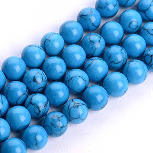 iSTONE Natural Gemstone Round Beads 16'' For Jewelry Making (6mm, Blue Turquoise)