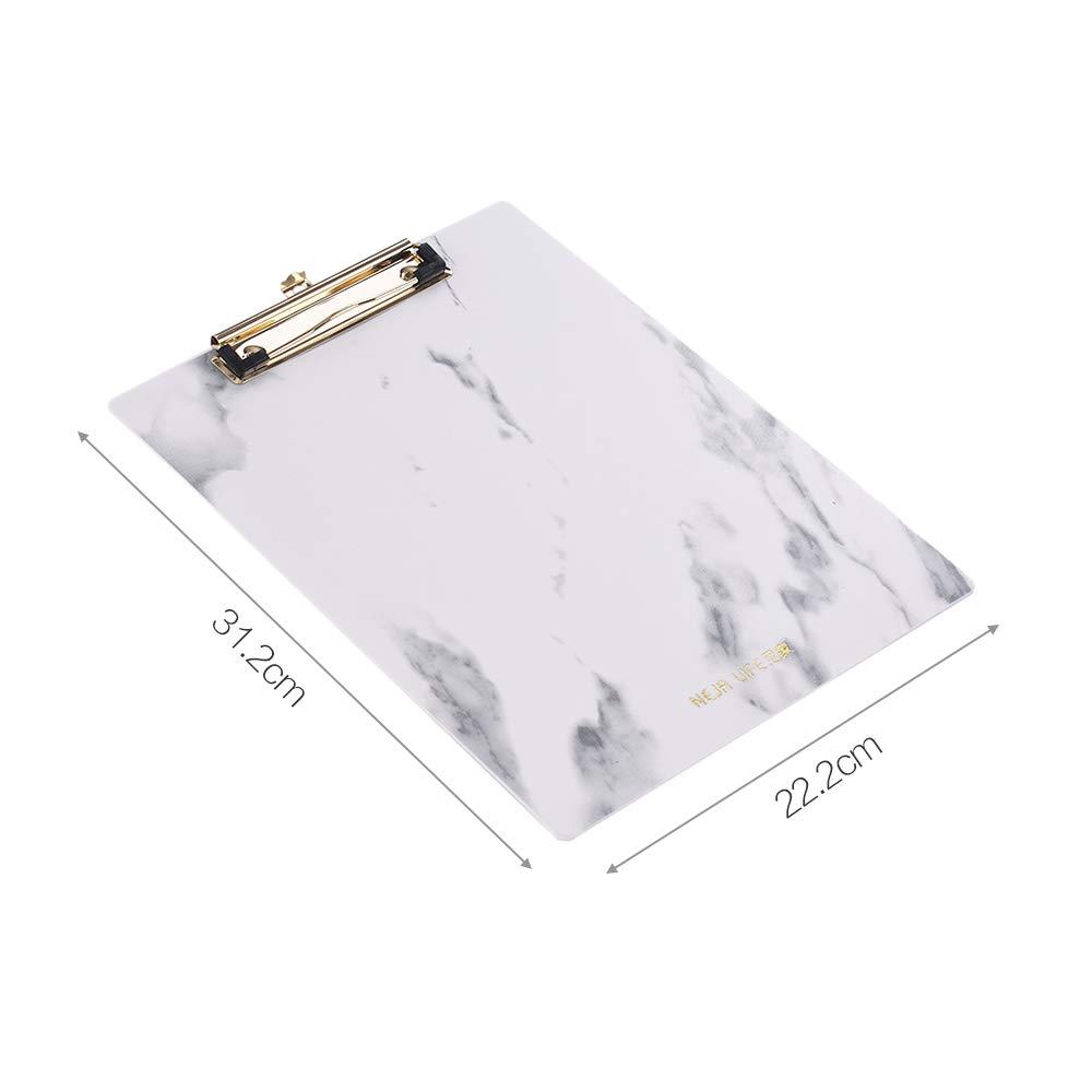 Kinder Aibecy Klemmbrett aus Kunststoff A4 A4-Format Papier Marmor-Muster mit Metallklammern vertikale Klemmbretter Schreibblock f/ür Krankenschwestern