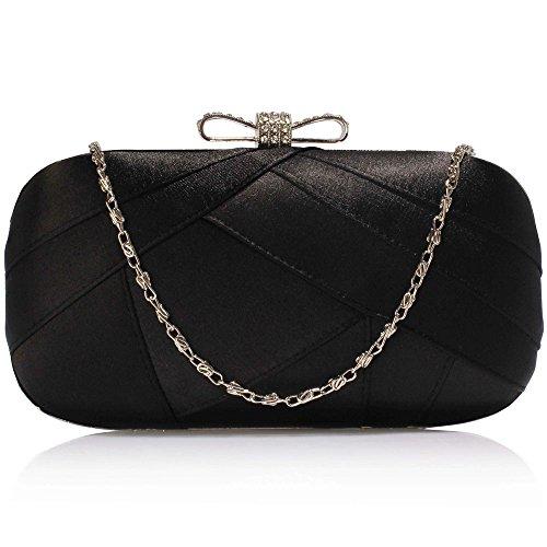 1 Women Design Satin Bags Box Shoulder Party Bag Designer Evening Clutch Bridesmaid Handbag Bridal Black Ladies 6awnAqgRRB