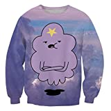 ZURIC Fashion Women 3D Print Cartoon Lumpy Space Princess Funny Sweatshirt (XL)