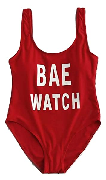 04dcdf4418206 Digital Dress Female Swimwear Red Bae Watch Slogan One Piece Swimsuit  Fashion Beach-Wear Bathing