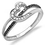 0.20 Carat (ctw) 10k White Gold Round Black and White Diamond Ladies Promise Heart Love Engagement Ring 1/5 CT (Size 8.5)