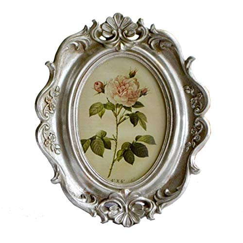 SIKOO Vintage Picture Frame 4x6 Oval Table Top and Wall Mounting Photo Frame with Glass Front for Home ()