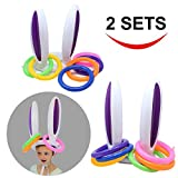 Toys : Inflatable Bunny Rabbit Ears Ring Toss Game(2 set &12 Rings), Inflatable Toss Game, Indoor and Outdoor Game for Easter Party Supplies