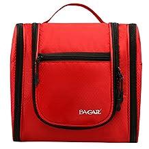 Bagail Large Men & Women Toiletry Bag For Makeup, Cosmetic, Shaving, Travel Accessories, Personal Items - Hanging Toiletries Kit Makeup Organizer Red