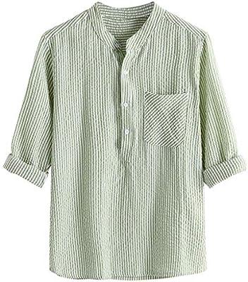 Herren Sommer Holiday Shirts Linen Grandad Neck Cotton Striped Shirt Tops Bluse