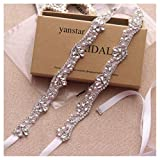 Yanstar Silver Rhinestone Crystal Pearls Wedding Bridal Belts With White Ribbon Sashes For Bridal Bridesmaid Gowns