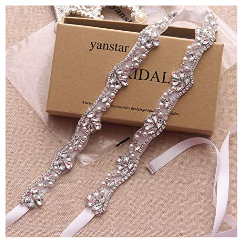 Yanstar Silver Rhinestone Crystal Pearls Wedding Bridal Belts With White Ribbon Sashes For Bridal Bridesmaid Gowns by yanstar