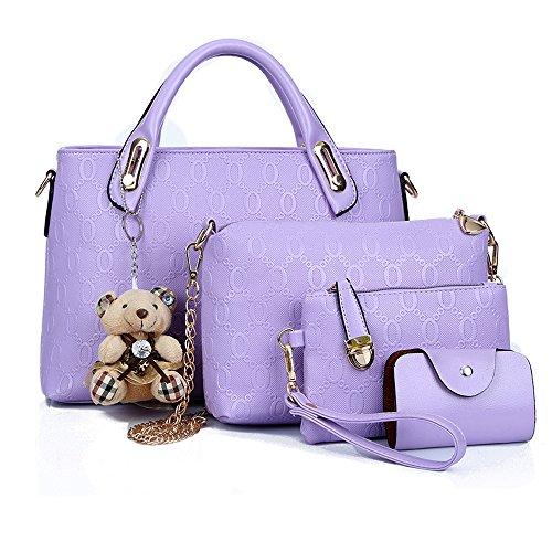 4 Borse donne sacchi a borsa borsa fissato tote viola Borse mano Borse Borse spalla mano bag le gestire set la pezzo a a top Bq1Htzw