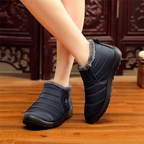 Aire Calentar Tobillo Mujer Outdoor Al Negro Altas de Nieve 43 Azul Rojo Invierno Botas 35 Azul Libre Sneakers Zapatos Forro Zapatillas Antideslizante WBnxAAq