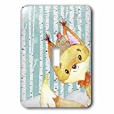 3dRose Uta Naumann Watercolor Illustration Animal - Woodland Friends-In Snowy Forest-Watercolor Illustration-Fox - Light Switch Covers - single toggle switch (lsp_268882_1)