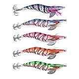 ShopSquare64 5 pcs 13.5cm20g Wood Shrimp Squid Lures Bait Bass Hooks