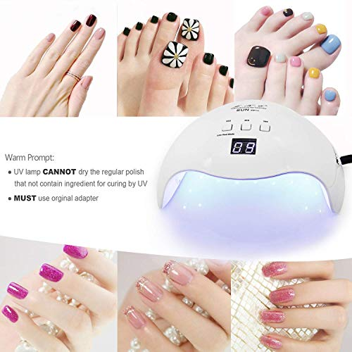 Gel UV LED Nail Lamp,LKE Nail Dryer 40W Gel Nail Polish UV LED Light with 3 Timers Professional for Nail Art Tools Accessories White