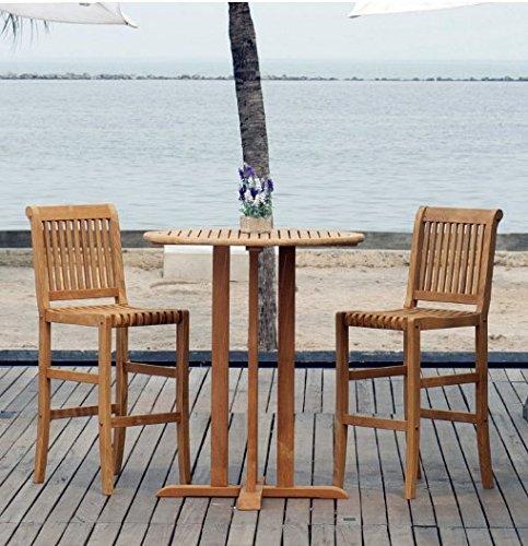 amazon com outdoor bistro set 3 piece bar height teak wood
