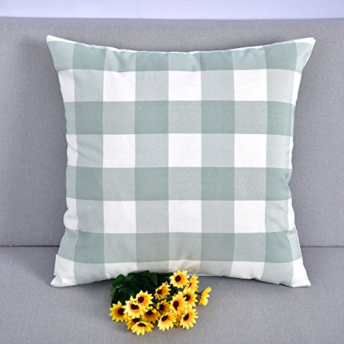 Natus Weaver Mint and White Retro Checkers Plaids Soild Decorative Throw Pillow Cover Cushion Case for Sofa Bedroom,18