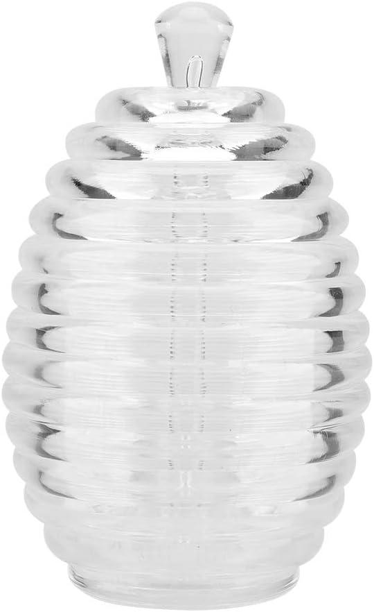 Tarro de Miel Tarro de Miel Transparente en Forma de Colmena de 265 ml con Palo de Goteo para almacenar y dispensar Miel para Tarro de miel,Jadpes Miel Tarro de cristal con cuc