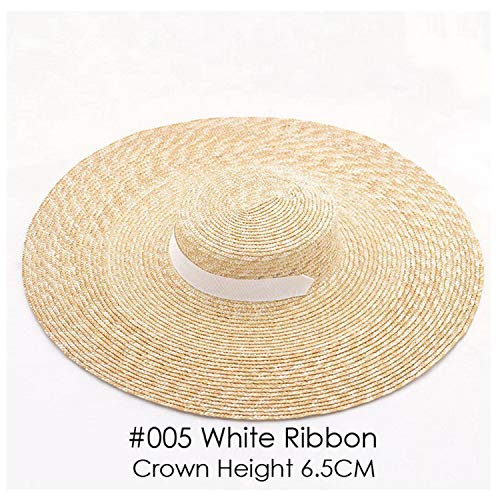 Ashley-OU Wide Brim Hat Summer Beach Wheat Straw Women Boater hat with Ribbon Tie for Vacation Holiday Audrey Hepburn 671073,005 White- 6.5CM H