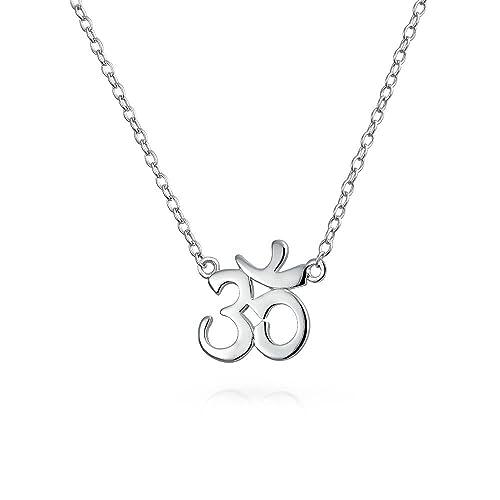 Bling Jewelry Símbolo Sánscrito Yoga Armonía Espiritual Om AUM Ohm Collar Colgante para Mujer Chapado En Oro Rosa De 14K 925