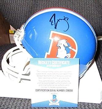 Amazon.com  Ed Mccaffrey Autographed Signed Denver Broncos Throwback Mini  Helmet Beckett COA C06055  Sports Collectibles e48608ab5