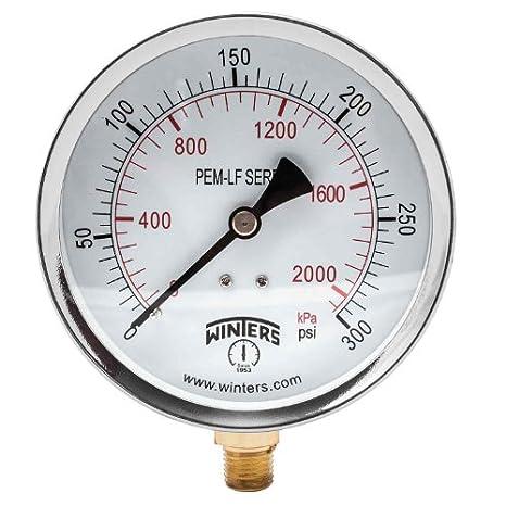 1//4 NPT 2 Dial size /Â/±3-2-3/% accuracy Winters PEM205LF PEM-LF Series Pressure Gauge 0//300 psi//kpa