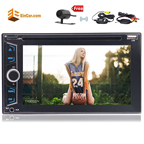 Eincar 2 Din 6.2'' Touch Screen Car Stereo With GPS Navigation Auto HD Radio DVD/CD Player Built-In Bluetooth USB/SD/AUX Port Support Hands-Free Call RDS 1080P Video Play & Free Wireless Rear Camera