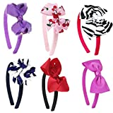 "HipGirl 12pc Grosgrain Ribbon Wrapped 1/2"" Headbands + Matching Large Hair Bow Alligator Clips. Interchangable Assorted Fashion Accessory for Girl Women Teen Kid Toddler Children Adult"