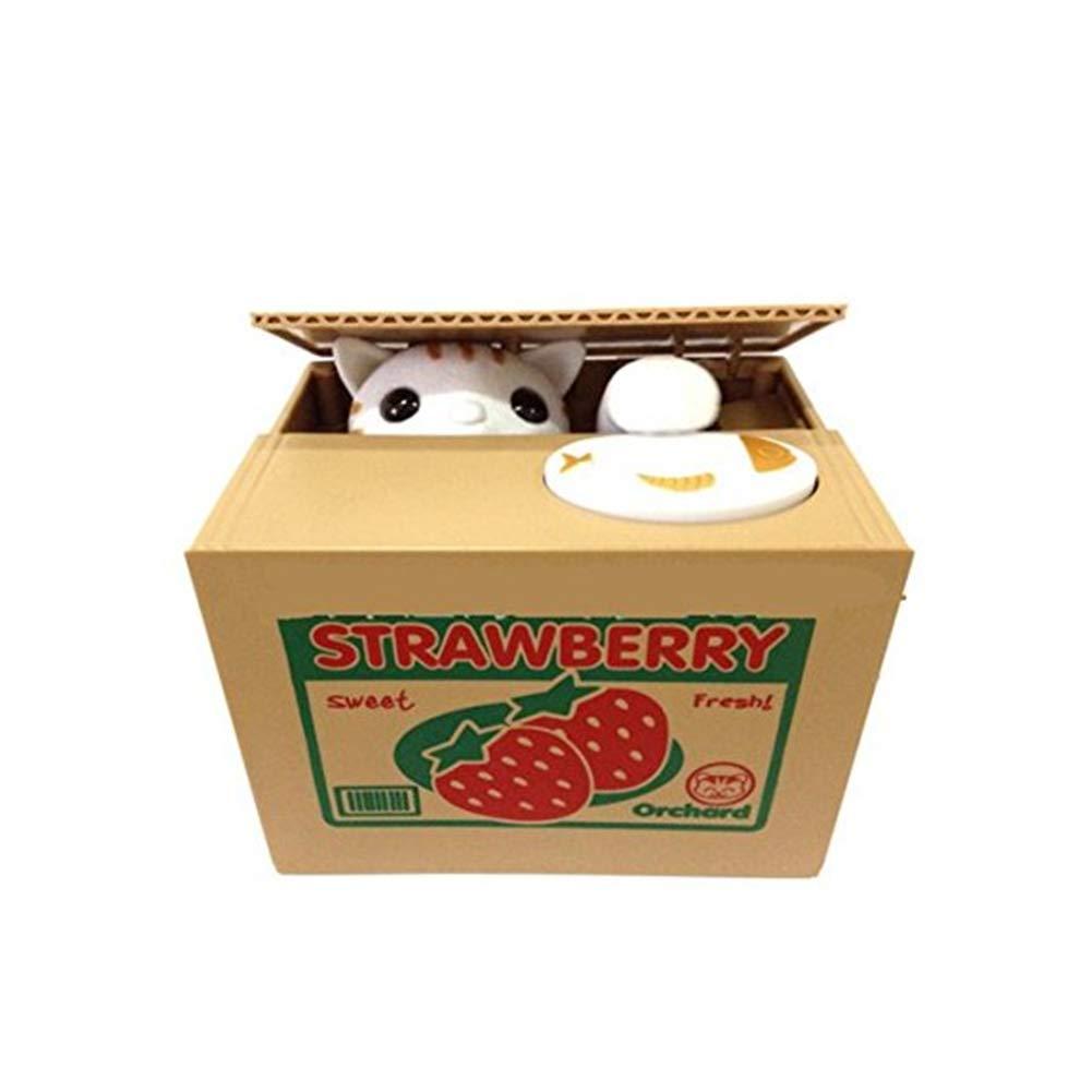JER Cute Cat Money Box Calico Cents Rubare Denaro Monete Salvadanaio Pot Caso Giocattori