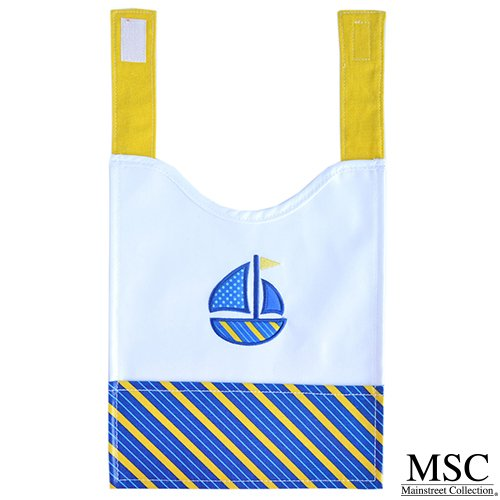 - Mainstreet Collection Blue and Yellow Baby Boy with Sailboat Embroidery Wipeable Coated Canvas Bib with Straps