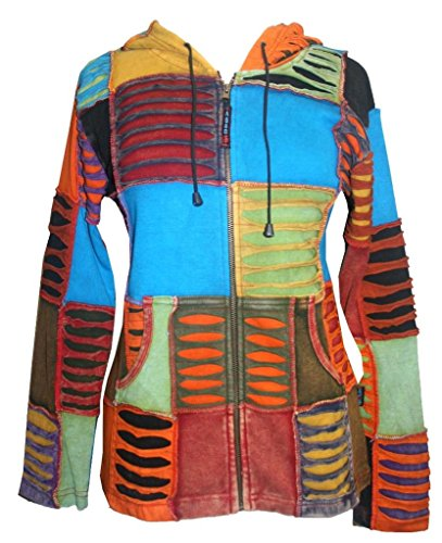 Cut Hoody - Agan Traders RJ 310/307 Patch Rib Boho Hoodie Jacket (S, Multi Patch)