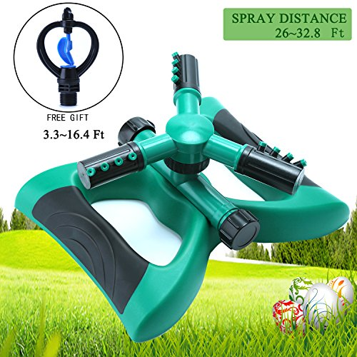 Uclipers Lawn Sprinkler, Automatic 360 Degree Garden Sprinkler System Range Up to 32.8 Ft, Irrigation Base Plant Watering Garden Supplies with Adjustable Nozzle