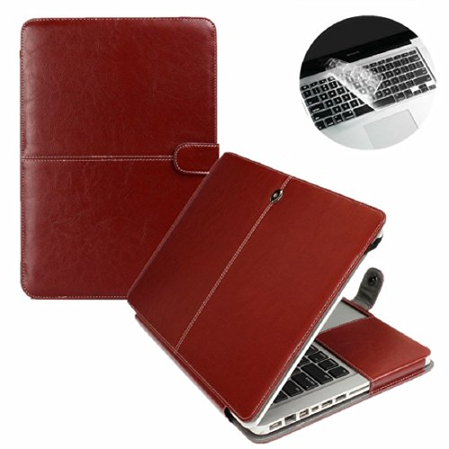Se7enline MacBook Air Case PU Leather Book Case for MacBook Air 13.3 inch Model A1369 / A1466 Sleeve Carrying Cover Folio Case with Transparent Keyboard Cover, Brown