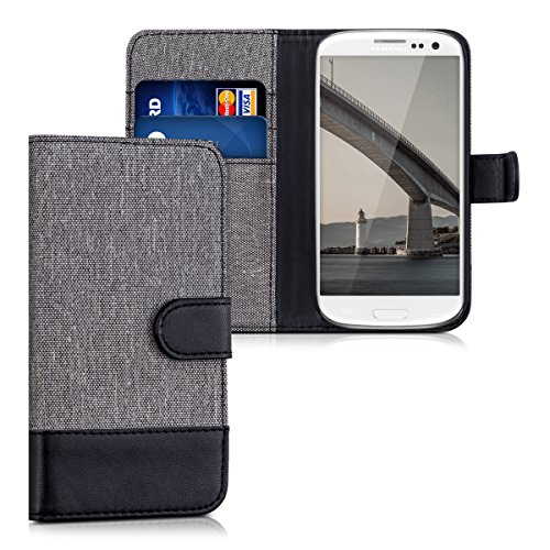 Flip Galaxy Case S3 - kwmobile Wallet Case for Samsung Galaxy S3 / S3 Neo - Fabric and PU Leather Flip Cover with Card Slots and Stand - Grey/Black