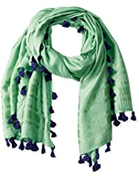 Women's Solid Scarf with Contrasting Tassels